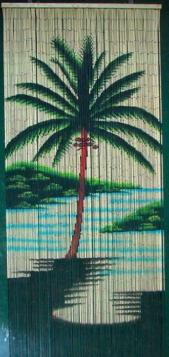 Single Palm Tree Beaded Curtain 125 Strands (+hanging hardware) (Wooden Door Beads Hanging)