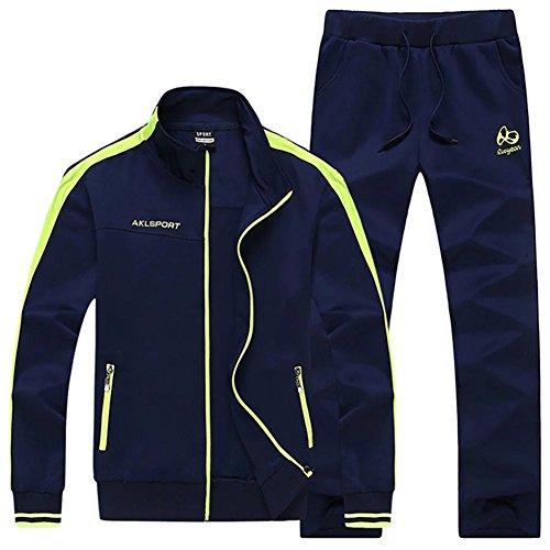 HENGAO Men's Casual Jogging Full Zip Sports Jacket & Pants Tracksuit