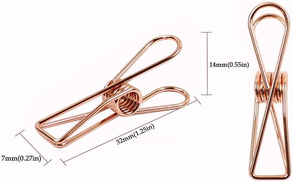 Waescheleine Praktische Clip Fanuse Packung mit 25 Kleinen Metallclips Aus Rosegold Mehrzweck