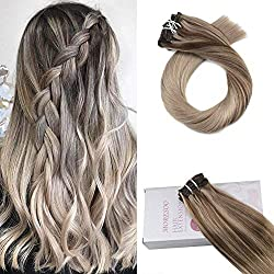Moresoo 18 Inch Double Weft Clip in Human Hair Extensions Color #4 Fading to #18 Mixed with Ash Blonde Brazilian Human Hair Extensions Real Hair Extensions 7PCS 120G Clip in Hair Extensions
