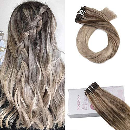 Moresoo 16 Inch Clip in Hair Extensions Double Weft Real Human Hair Extensions 7PCS 120G Clip on for Fine Hair Full Head Color #4 Fading to #18 Highlighted with Ash Blonde Hair Extensions Human Hair