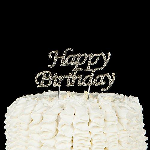 Happy-Birthday-Cake-Topper-Party-Supplies-Decoration-Ideas-Silver-Rhinestone-Silver