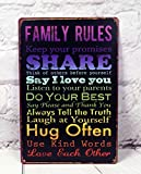 Family Rules Plate Wall Antique Art Metal Painting Vintage Tin Sign Mural Wall Cafe Bar Pub Garage Decor