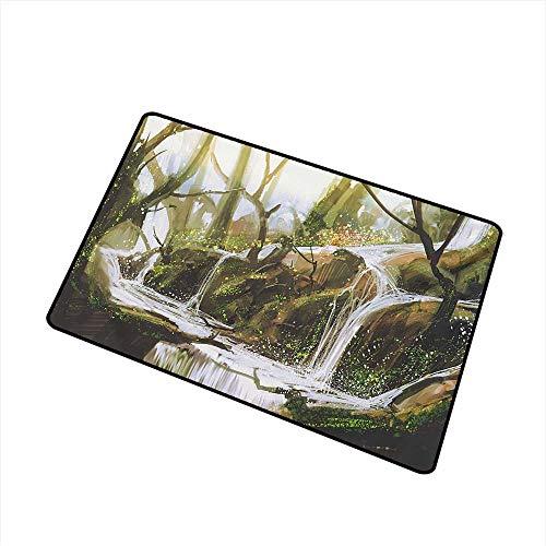 Cobblestone Cascade - BeckyWCarr Fantasy Front Door mat Carpet Cascade Stream Flows into The Creek in a Realistic Way Secret Paradise Paint Print Machine Washable Door mat W23.6 x L35.4 Inch,White Brown