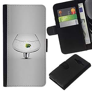 All Phone Most Case / Oferta Especial Cáscara Funda de cuero Monedero Cubierta de proteccion Caso / Wallet Case for Samsung Galaxy Core Prime // pecera idea favorita bombilla gris oscuro