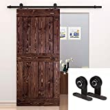 U-MAX 6.6 Ft Sliding Barn Door Hardware Set T Antique Country