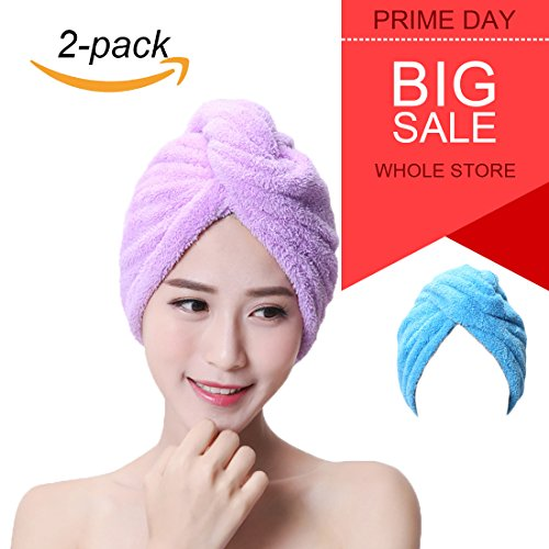 Hair Wrap Towel Microfiber Absorbent Hair Turban Twist Quick Drying Shower Cap for Women(2 Pack) by ZKLKLO