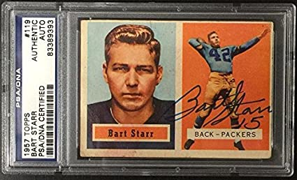 Amazoncom Bart Starr Signed 1957 Topps Rookie Card Rc 119