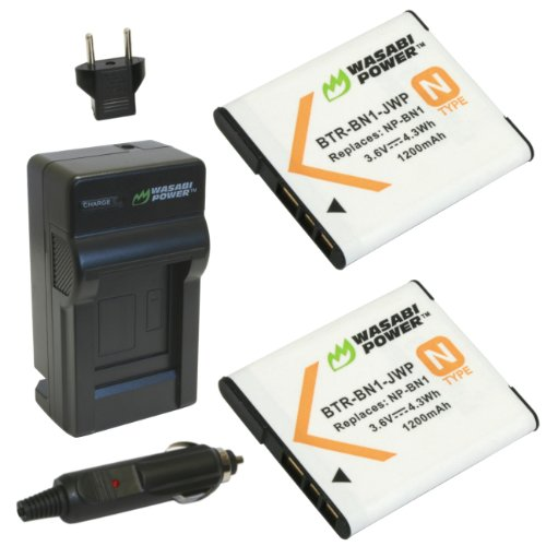 Wasabi Power Battery (2-Pack) and Charger for Sony NP-BN1 (Compatible with Cyber-shot DSC-QX10, DSC-QX30, DSC-QX100, DSC-TX100V, DSC-TX200V, DSC-W800, DSC-W810, DSC-W830, DSC-WX150, DSC-WX220 & more)