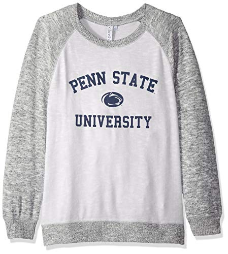 chicka-d NCAA Officially Licensed Penn State University Ladies Cozy Crewneck Lightweight Sweatshirt/Sweater- PSU Nittany Lions Women's Apparel ()