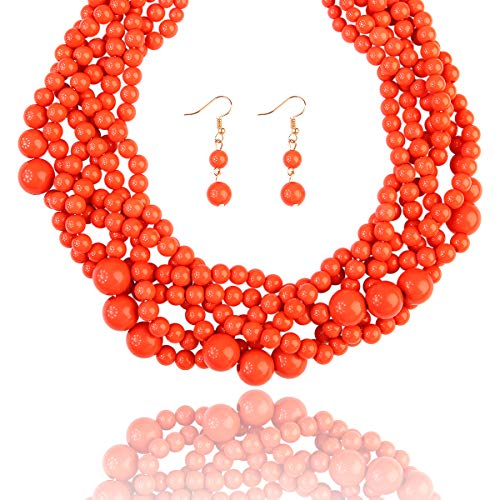 Buy coral bib necklace