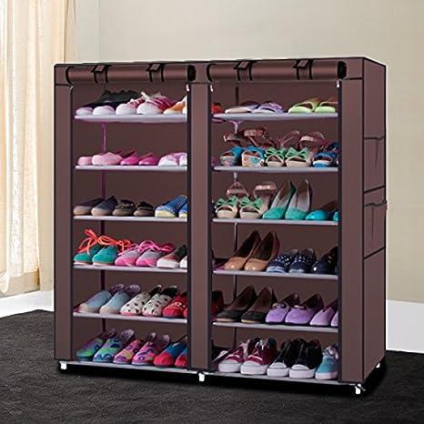 Soogo Portable Shoe Rack Shelf Storage Closet Organizer Cabinet 6 Layer 12  Grid (Brown)