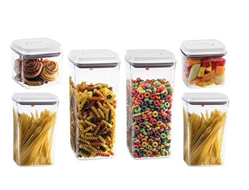 Gee Gadgets 0022541 6 Pack Food Storage Set of 6-Airtight Push Button-Nesting Stackable Plastic Kitchen and Pantry Container with Rubber Seals-2.65 - Push Top Lid