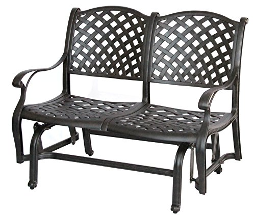 Darlee Nassau Cast Aluminum Bench Glider with Seat Cushion,
