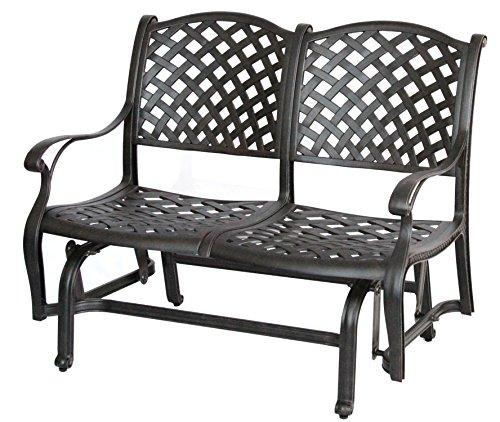Darlee Nassau Cast Aluminum Bench Glider with Seat Cushion, Antique Bronze Finish