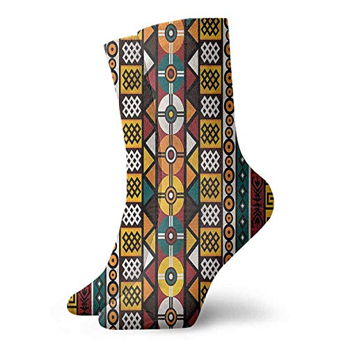 Patterned Socks Kente Pattern Primitive Borders Unisex Men's & Womens Socks ()