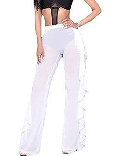 c3ff7163b1c7a Doqcey Women s Perspective Sheer Mesh Ruffle Pants Swimsuit Bikini Bottom Cover  up