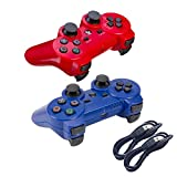 Nesada 2 Packs Wireless Bluetooth Controller For PS3 Double Shock - Bundled with USB charge cord (Red and Blue)