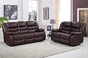 Incredible Romano 2 3 Seater Sofa Set Recliners Bonded Leather Brown Spiritservingveterans Wood Chair Design Ideas Spiritservingveteransorg