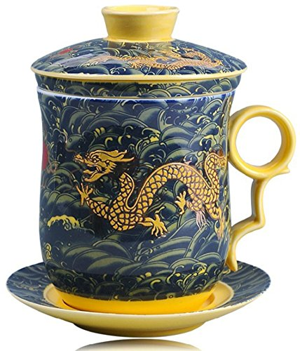 (Emoyi Chinese Teaware Dark Blue Porcelain Bone Tea Cups Tea Mug with)
