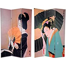 Oriental Furniture Classic Asian Art and Home Decor 6-Feet Double Art Print Canvas Folding Screen, Japanese Geisha with Fan and Umbrella and Kanji