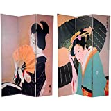 dried sea fan - Oriental Furniture 6 ft. Tall Double Sided Geisha Room Divider
