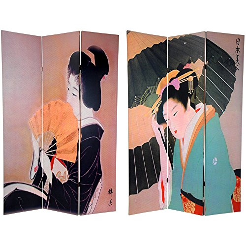 ORIENTAL FURNITURE 6 ft. Tall Double Sided Geisha Room Divider by ORIENTAL FURNITURE