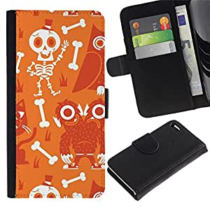 Paccase / Billetera de Cuero Caso del tirón Titular de la tarjeta Carcasa Funda para - Scull Skeleton Happy Halloween - Apple Iphone 4 / 4S