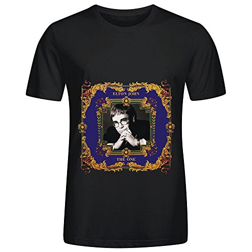 elton-john-the-one-tour-hits-men-crew-neck-music-t-shirts-black