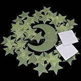100 Glow In The Dark Star and Moon Shape for Ceiling Wall Bedroom