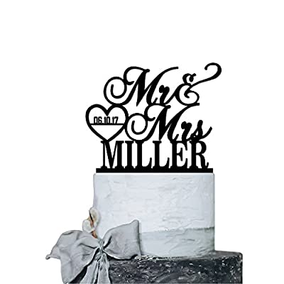 P Lab Personalized Cake Topper Mr. Mrs. Last Name Custom Date 2 Wedding Cake Topper Acrylic Decoration for Special Event