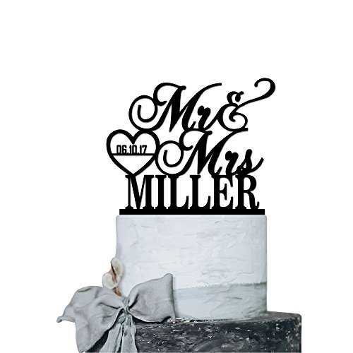 P Lab Personalized Cake Topper Mr. Mrs. Last Name Custom Date 2 Wedding Cake Topper Acrylic Decoration for Special Event Black