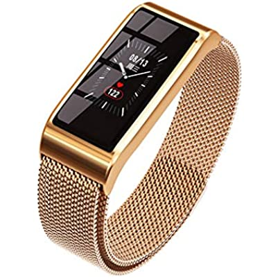 HFXLH Smart wristband Waterproof Bracelet Blood Pressure Bluetooth Gold Silver Metal watch Fitness Tracker for women Estimated Price £54.08 -