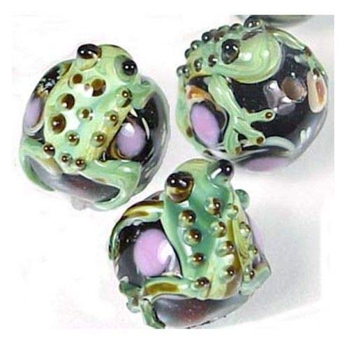 4 Lampwork Handmade Glass Green Frog Hug Ball Beads, Beading, Jewelry Making, DIY Crafting, Arts & Sewing by Perfect Beeds Store