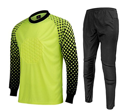 Goalie Pants (CATERTO Men's Football Goalkeeper Foam Padded Jersey Shirt & Pants(Light Green,M) Tag Size: XL)