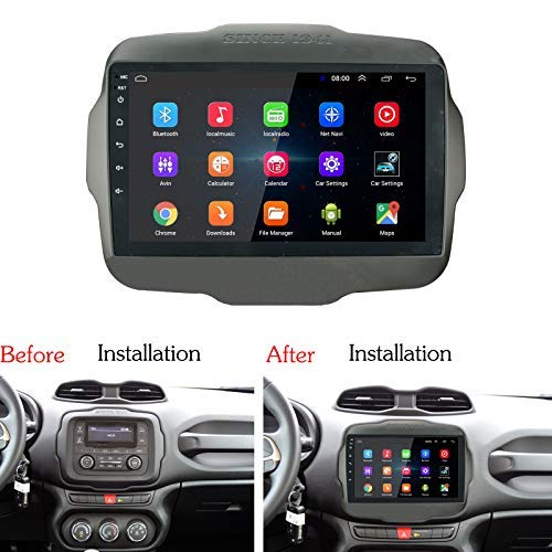 Lexxson Android 8.1 Car Radio Stereo 9 inch Capacitive Touch Screen High Definition GPS Navigation Bluetooth USB Player 2G DDR3 16G NAND Memory Flash for Jeep Renegade 2015 2016 2017 SPCK-JEEP-RGD15