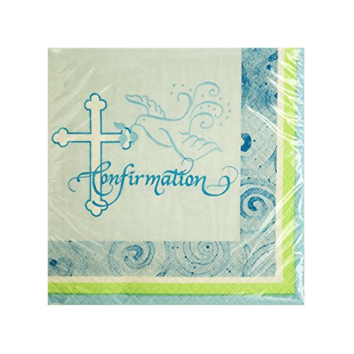 Blue Faithful Dove Confirmation Beverage Napkins - Pack of 96