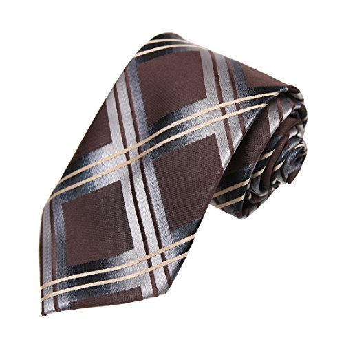 DAA7C12A Brown Grey Checkered Microfiber Neck Tie Love For Work-Utility Neckwear By Dan Smith by Dan Smith