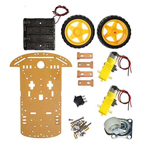 The perseids Robot Smart Car for Arduino DIY Chassis Kit with Speed Encoder, Wheels and Battery Box (2 Wheels) -