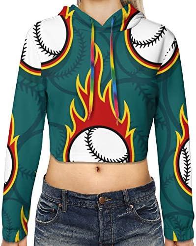 炎野球柄クロップドパーカー女性の2019ファッション長袖パッチワーククロップトップスウェットスポーツジムオフィススクール