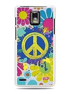 GRÜV Premium Case - 'Funky Cool 60s Hippie Paint Art : Flower Power Peace' Design - Best Quality Designer Print on White Hard Cover - for Huawei Ascend P1 U9200
