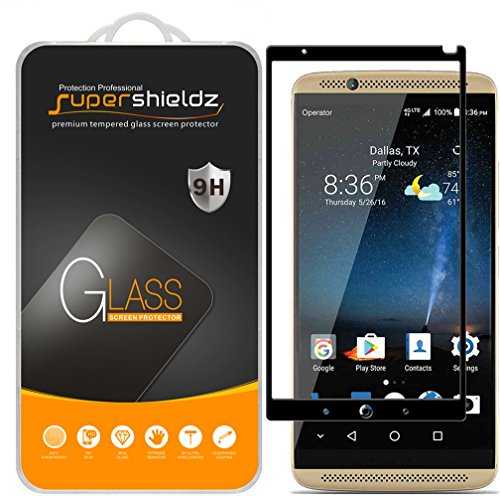 [2-Pack] Supershieldz for ZTE Axon 7 Tempered Glass Screen Protector, [Full Screen Coverage] Anti-Scratch, Bubble Free, Lifetime Replacement Warranty (Black)