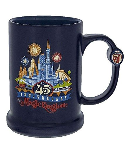 Disney Parks Magic Kingdom 45th Anniversary Blue Ceramic Coffee Mug 16oz A Disney Mug