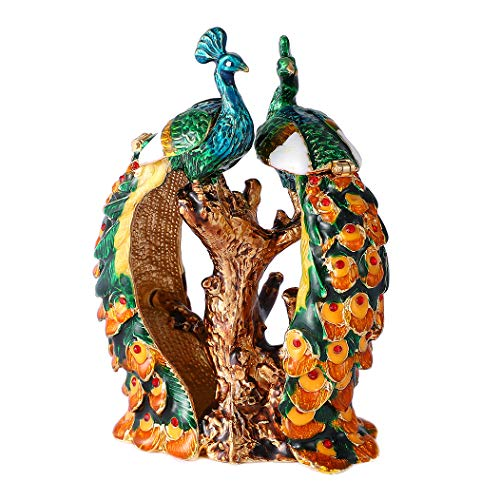 (QIFU Vintage Style Hand Painted Two Peacocks Shape Jewelry Trinket Box with Rich Enamel and Sparkling Rhinestones | Unique Gift Home Decor | Best Ornament Your Collection)