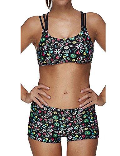 SameTop - Tankini - ajustado - para mujer Verde