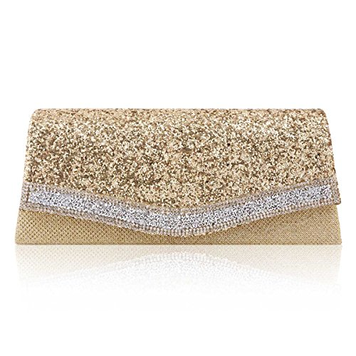 Dazzling Women Cocktail Damara Trim Classic Crystal Clutch Bag Gold d5BCwq