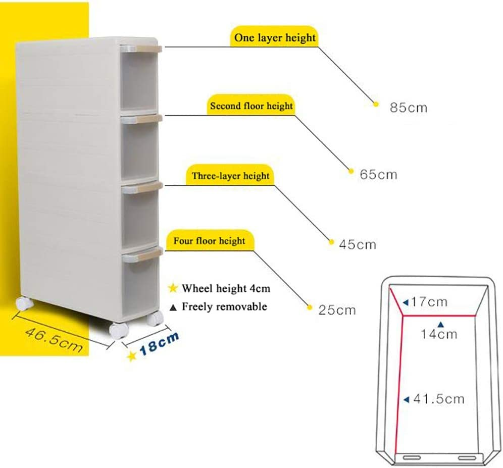 Size : 45cm LIZI Racks Storage Box It Can Move Drawer Type Plastic Multi-Layer Kitchen Bathroom Width 18cm Gap Locker