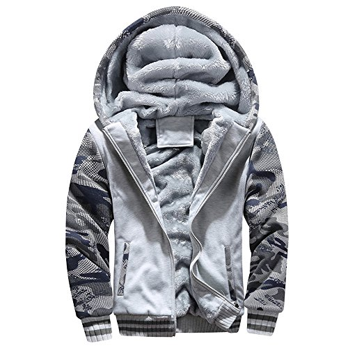 Rambling Men's Camouflage Pullover Winter Jackets Hooed Fleece Zipper Hoodies Sweatshirt Wool Warm Thick Coats