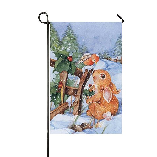 Small Mim Orange Bird Look At The Rabbit Eyes In The Snow Garden Flag Holiday Decoration Double Sided Flag 12.5