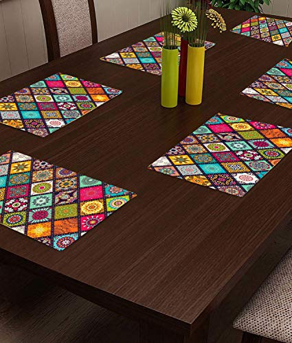 CASA-NEST PVC Printed Placemats for Dining Table and Kitchen (45 x 30 cm) Set of 6 Pieces ||Hot Vessels Transparent…